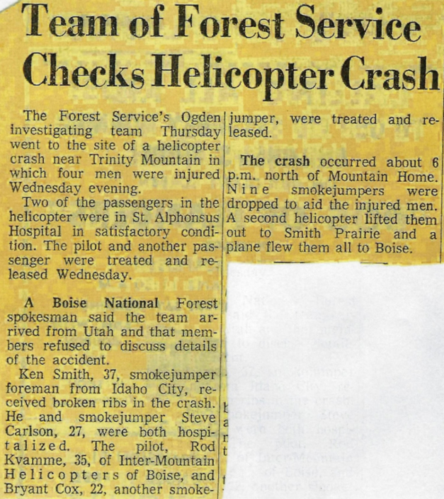 Smith Center Fire Jump and Helicopter Crash September 10, 1969
