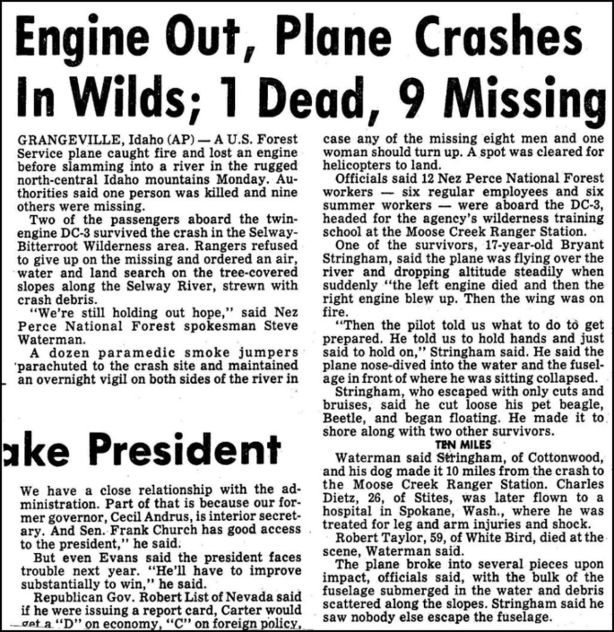"DC-3 N148Z Crashed up the Selway-Bitterroot Wilderness On June 11, 1979 FS DC-3 148Z crashed Ten men lost their lives including pilot Marvin ""Whitey"" Hachmeister and co-pilot John Slingerland"