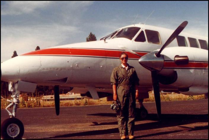 Charlotte Larson pilot on Beech 99