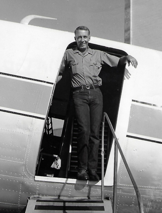 Pilot Dale Major aboard N100Z at Boise Smokejumper Base